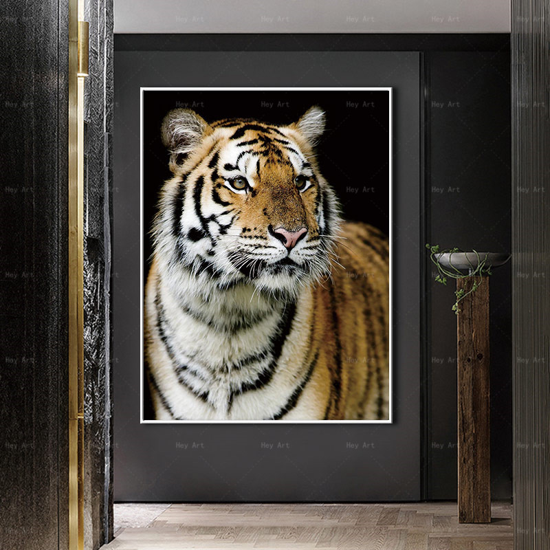 HD Canvas Print Wall Art Wild Animal Painting Tiger Picture for Living Room Watercolor Style Prints