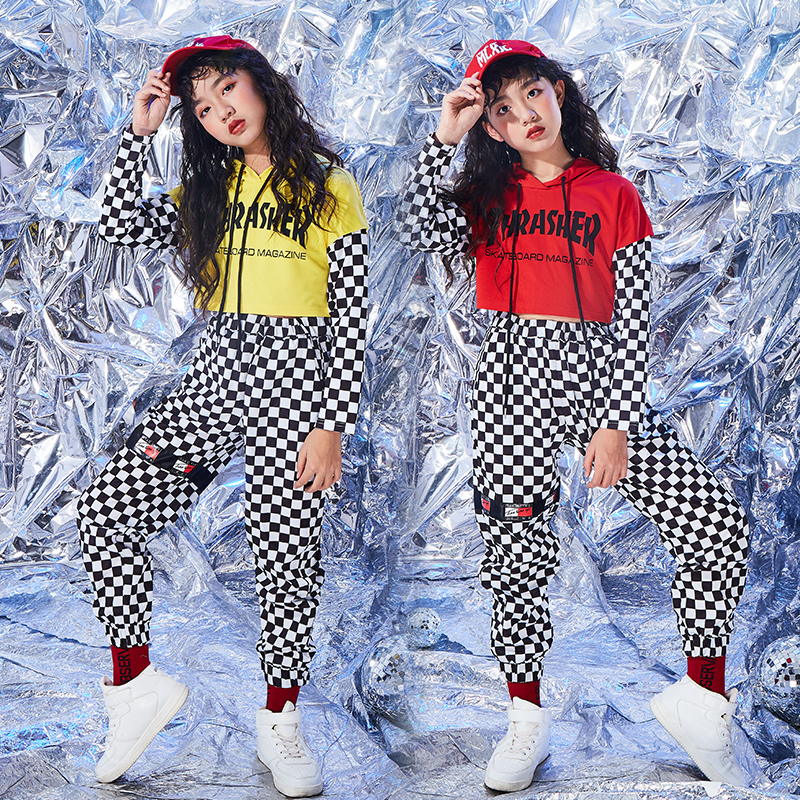 Hip Hop Dance Costumes For Girls Plaid Suit Yellow Long Sleeve Jazz Clothing Street Dance Children Red Stage Costume