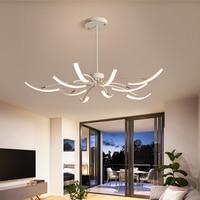 Matte Black/White LED Iron Chandelier Living Room Bedroom Adjustable Chandeliers Fixture Dimmable Indoor Lighting Ceiling Lamp