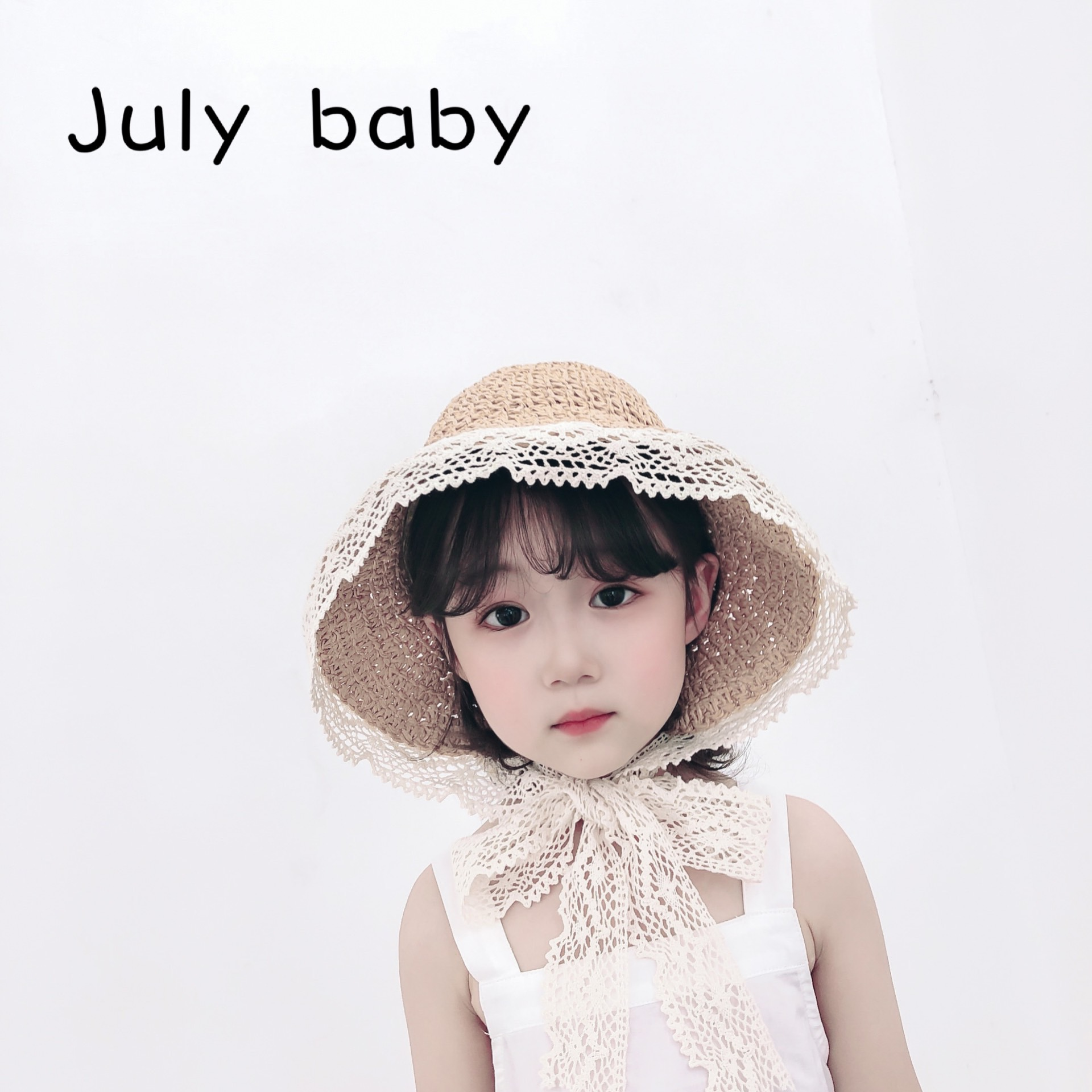 July Baby Spring And Summer Fisherman Hat Lace Straw Hat 1-3 Years Old Go Out Children Sunscreen Hat Sunscreen Cap Parent-child