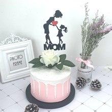 1 takım/I love mom kek Topper parlak kağıt kek Topper bayrakları anneler günü doğum günü bebek duş kek dekorasyon malzemeleri