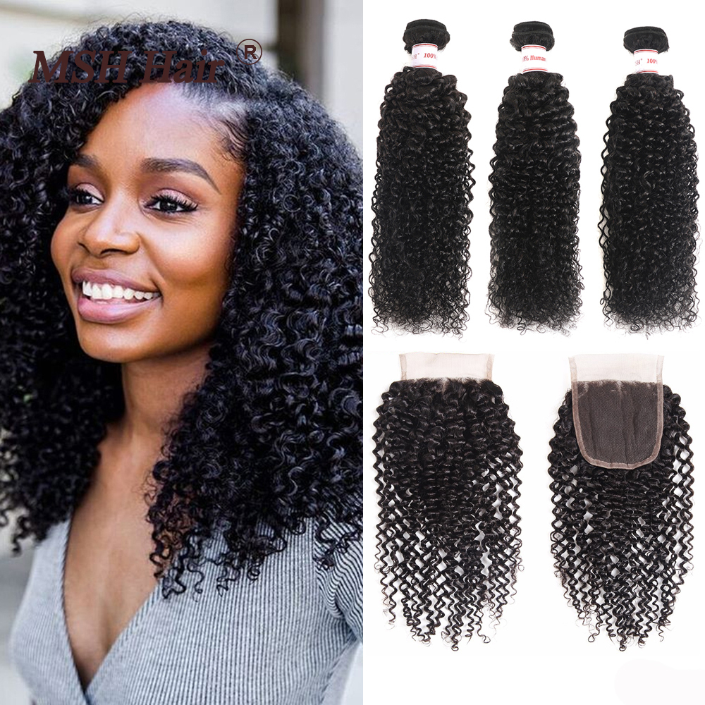 MSH Hair Brazilian Hair Kinky Curly 3 Bundles With Closure Non-Remy Human Hair Natural Black Hair Weaving