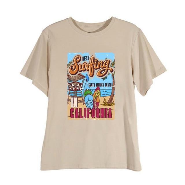 1pcs WHITE Tees Summer Casual Oversized Tee Best Surfing Santa Monica California Womens Retro Style T-Shirt Vacation Beach Shirt 6