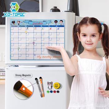 Śliczne A3 kalendarz magnetyczny dzienny harmonogram tablica miesięczny terminarz Dry Wipe 30*40cm elastyczne dzieci wiadomość biała tablica na notatki tanie i dobre opinie XD-TOPQC FM11-FM12 Zawieszenie Typu Dry Erase Whiteboard Sky Blue Pink A3 30cm x 40cm 11 8inch x 15 7inch 0 5mm Monthly Planner Fridge Magnet