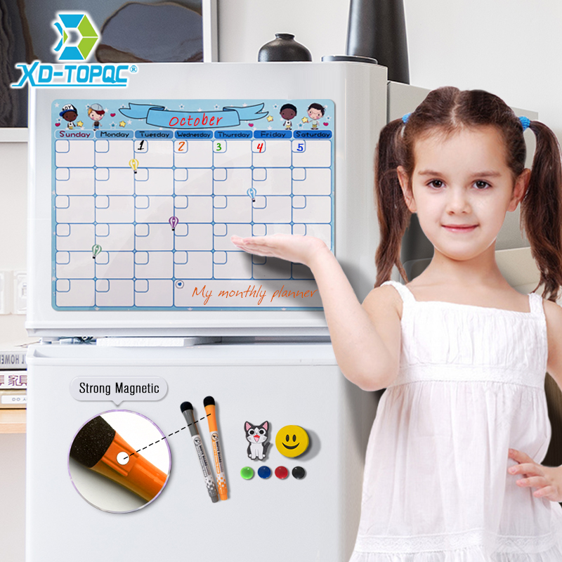 Cute A3 Magnetic Calendar Daily Schedule Whiteboard Monthly Planner Dry Wipe 30*40cm Flexible Kids Message White Board For Notes