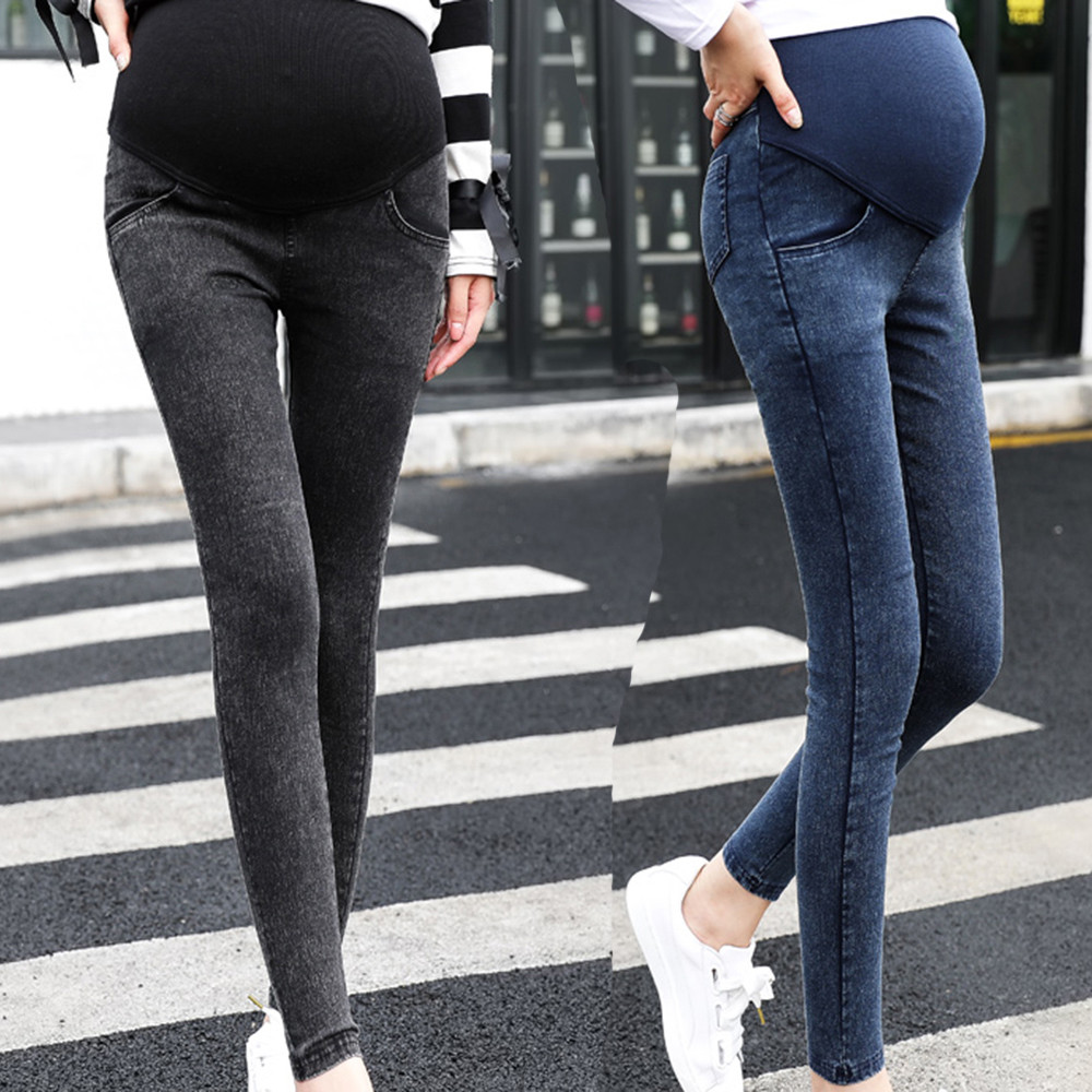 Pregnant Women Jeans Maternity Pregnancy Skinny Trousers Jeans Over The Pants Elastic Casual Pocket Slim Pants Maternity Clothes