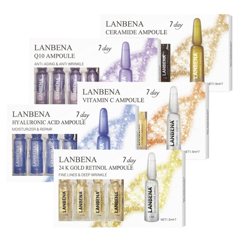 7 Pcs Vitamin C Ampoule Moisturizing Anti-aging Serum Retinol 24K Gold Serum Ampoule Face Skin Care Kit