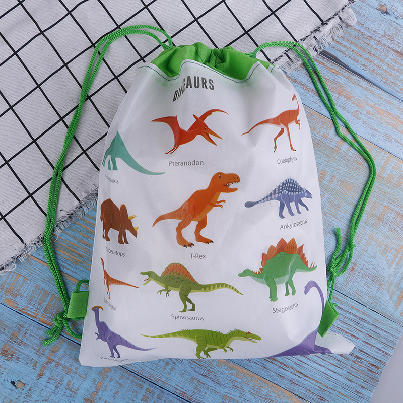 New Cartoon Dinosaur Drawstring Bags Kids Drawstring Backpack Children Clothings Organizer Pouch Laundry Bag School Backpacks
