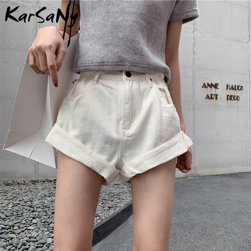 Women's Summer Shorts Jeans Feminino White High Waist Short Jeans Women Cotton Khaki High Waisted Denim Shorts For Women Summer