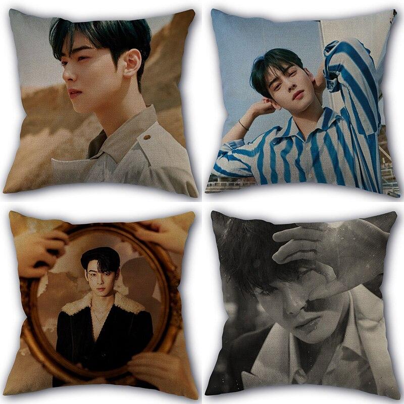 Kpop Cha EunWoo Pillowcase New Cotton Linen Fabric Square Zipper Pillowcase 45X45 Wedding Decorative Pillow cover