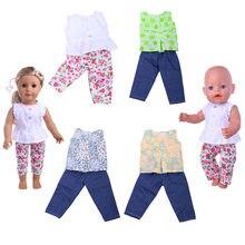 Oyuncak bebek giysileri 5 stilleri oyuncak bebek giysileri kolsuz tişört + pantolon takım elbise 18 inç amerikan ve 43 Cm bebek yeni doğan yeniden doğmuş bebek üretimi
