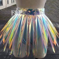 Plus Size Clothing Holographic Iridescent Plastic PVC Tutu Skirt Drag Queen Costume Burning Man Festival Pole Dance Bottom