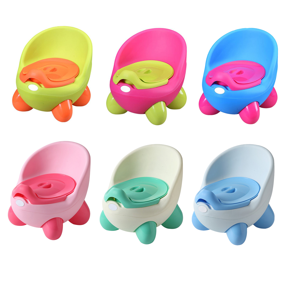 Portable Potty Baby Toilet Seat Pot Bowl Cute Children's Pot Kids Plastic Training Pan Boy Girl Comfortable Backrest Toilet Pots