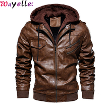 Retro Motorcycle Faux Leather Jackets Men 2019 Winter Autumn Fashion Casual Hooded Jacket Mens Warm PU Coat