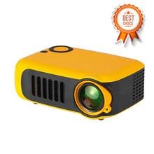 Mini projetor portátil de lcd 320*240p, projeção de video home theater com suporte de 1080p, lâmpada com 50000 horas de vida útil, para home theater tomada ue/eua banco de energia