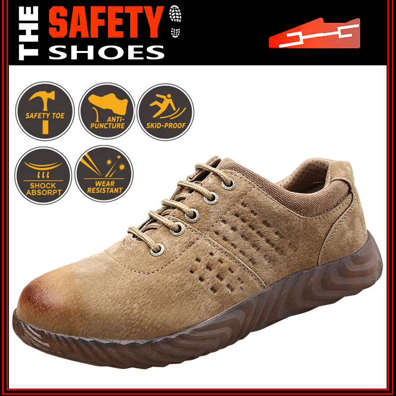 Mens Safety Shoes Steel Toe Work Boots Hiking Shoes Indestructible Mesh Sneakers