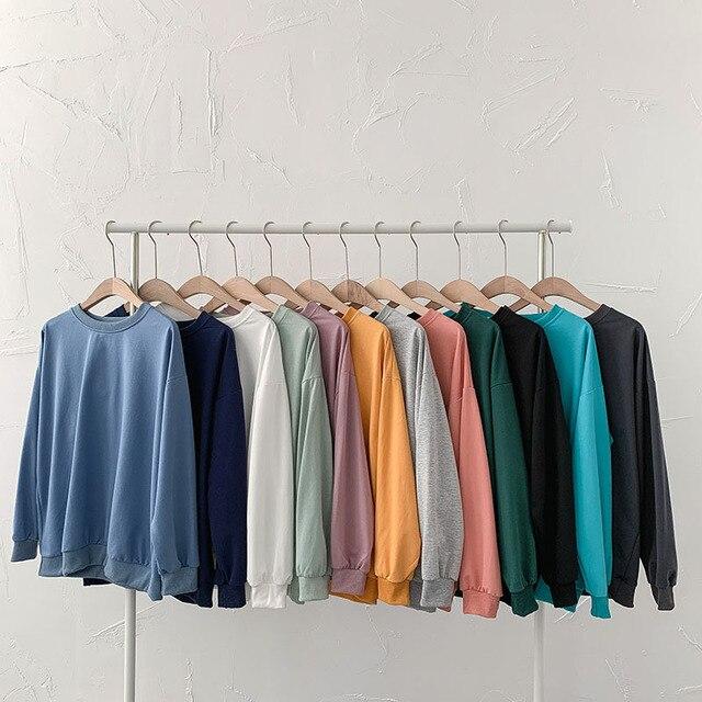 Women Solid Sweatshirts Korean Style Autumn Ladies Student Round Neck Long Sleeve Loose Pullover Tops WDC6301 1