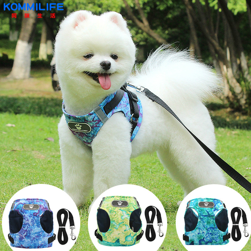 Breathable Dog Harness and Leash Set Vest Reflective Collar for Small Medium-sized