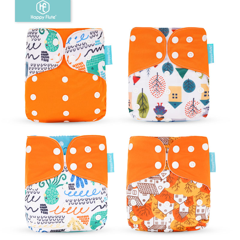 Happyflute 4pcs/set Washable Eco-Friendly Cloth Diaper Cover Adjustable Nappy Reusable Cloth Diapers Cloth Nappy Fit 3-15kg Baby