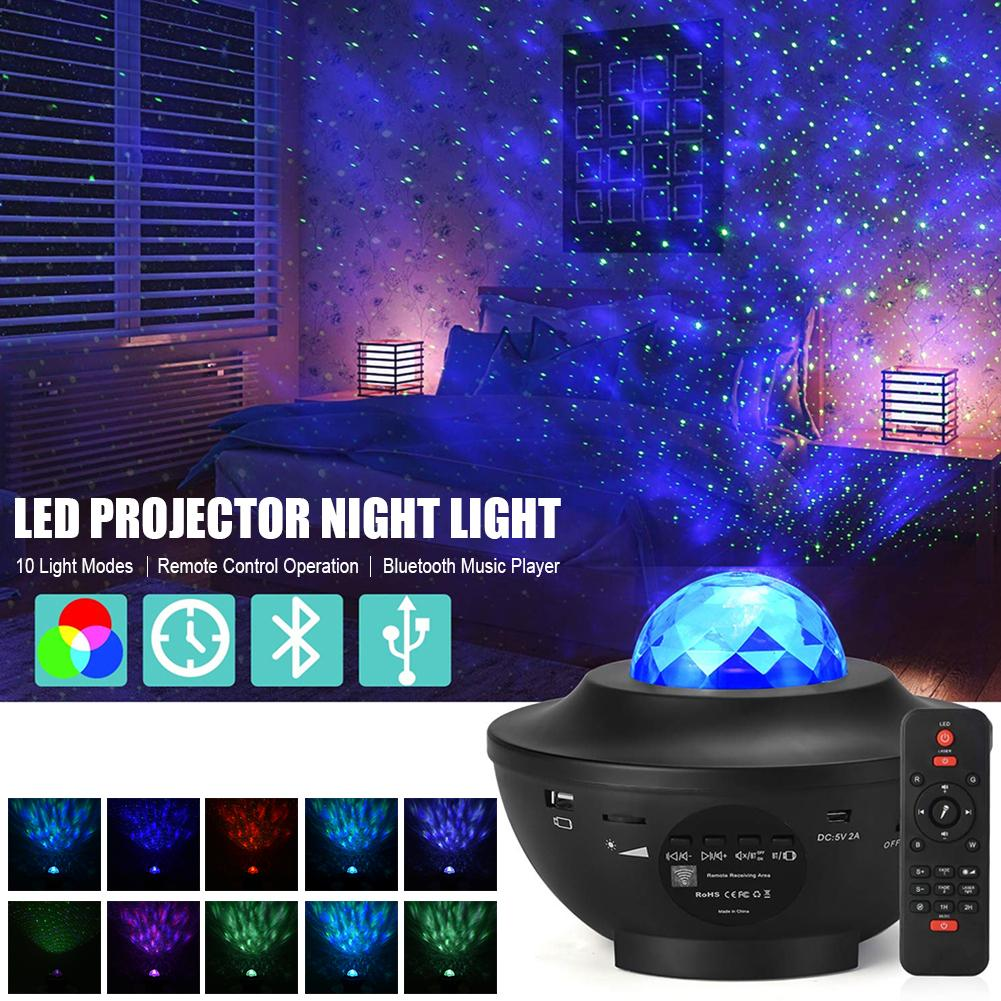 LED Star Projector Night Light Galaxy Starry Night Lamp Ocean Wave Projector With Music Bluetooth Speaker Remote Control For Kid