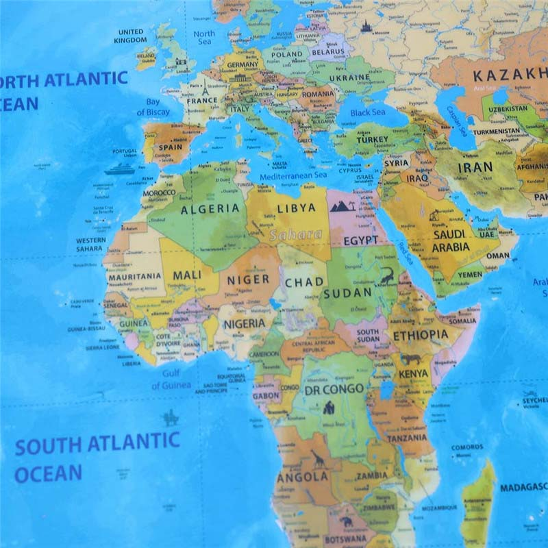 Creative High Quality Scratch Edition World Map Travel World POSTER Map Oceans DIY Kids