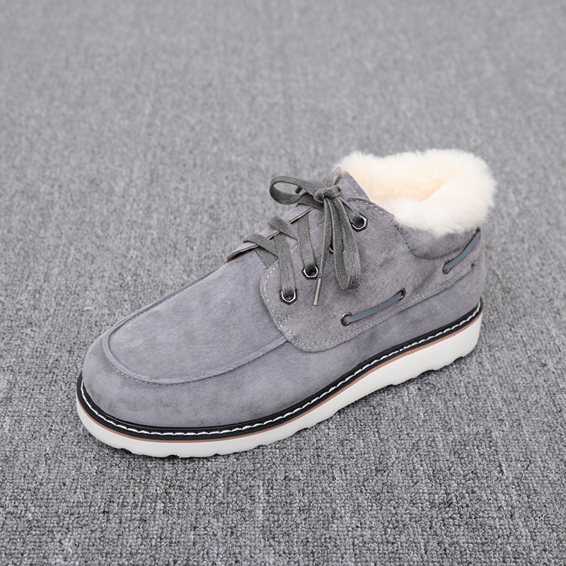 Top Quality Fashion Beckham snow boots for men lace up winter shoes real sheepskin leather nature wool fur ankle short boots - 2