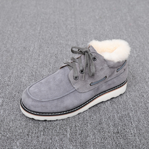 Image 2 - Top Quality Fashion Beckham snow boots for men lace up winter shoes real sheepskin leather nature wool fur ankle short boots