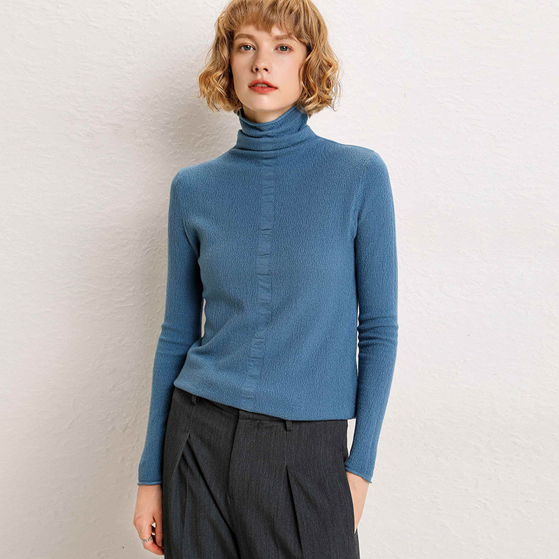 New Jersey Wool High-collar Long-sleeved Blouse In Autumn And Winter Of 2019 Solid Cloak Base High-collar Sweater