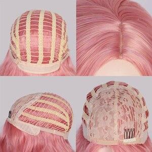Image 4 - AISI QUEENS Sintetico Rosa Parrucche Parrucca Lunghi Ondulati per le Donne Nero Bianco Naturale di Trasporto Parti di Cosplay Dei Capelli di Formato Medio