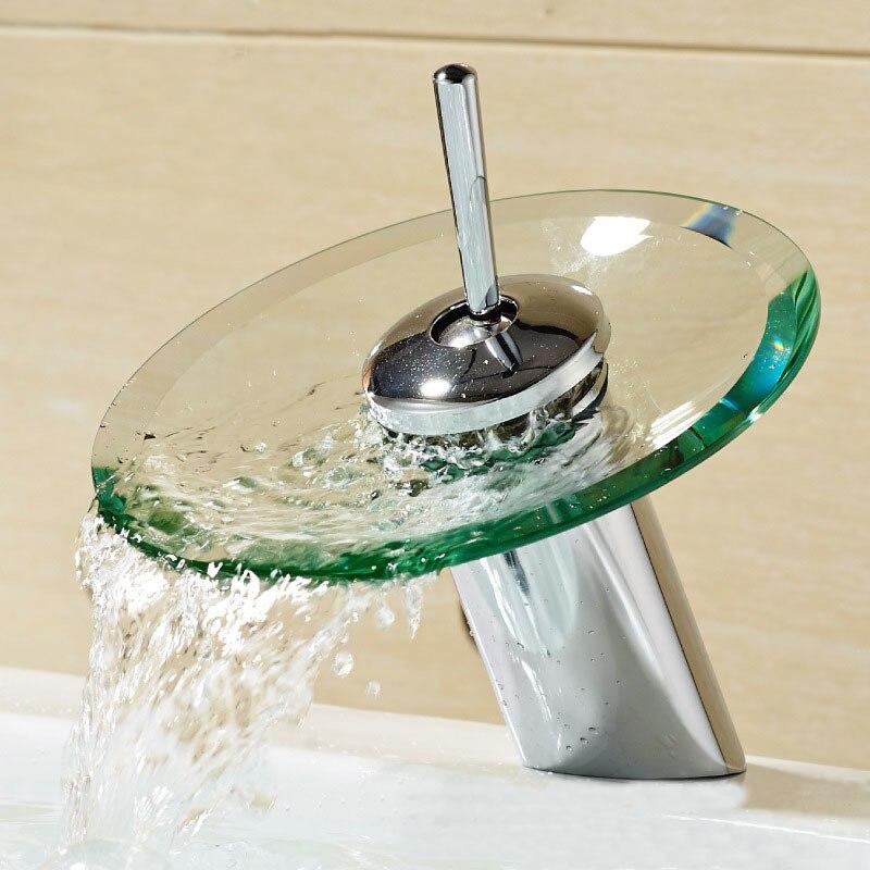 Rond verre cascade robinet fabricants en gros commerce extérieur meilleur vendeur ancienne salle de bain lavabo robinet