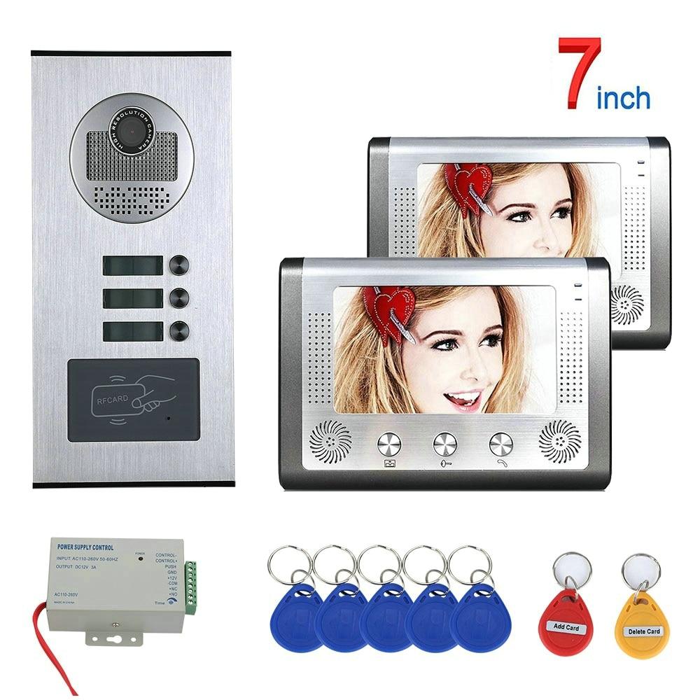 7 Inch 2 Apartment/Family Video Door Phone Intercom System RFID IR-CUT HD 1000TVL Camera Doorbell Night Vision Camera Waterproof