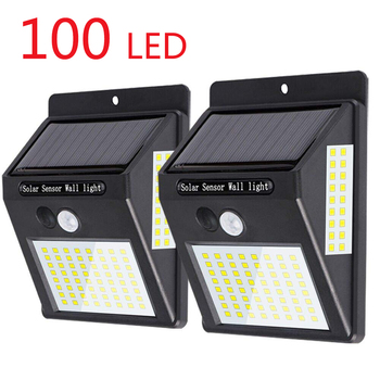 100LED Solar waterproof Light Outdoor PIR Motion Sensor automatically power Garden Wall Street for landscape bulb