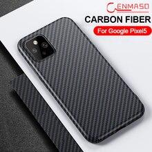 Cenmaso real caso de fibra carbono para o google pixel 5 pixel 4a 5g volta caso capa aramida à prova de choque completa capa protetora do telefone