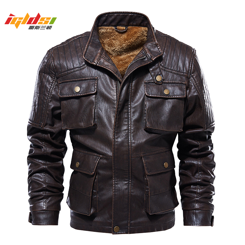 Men's Winter Fleece Thicken Leather Jacket Men Vintage Motorcycle Faux Leather Jacket Coat Fashion Pigskin Leather Jacket L-5XL