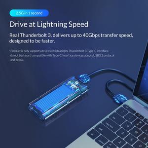 Image 3 - ORICO Thunderbolt 3 M.2 NVME SSD Gehäuse Unterstützung 40Gbps 2TB Transparent USB C SSD Fall mit C bis C Kabel Für mac Windows