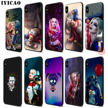 IYICAO Harley Quinn Suicide Squad Soft Black Silicone Case for iPhone 11 Pro Xr Xs Max X or 10 8 7 6 6S Plus 5 5S SE