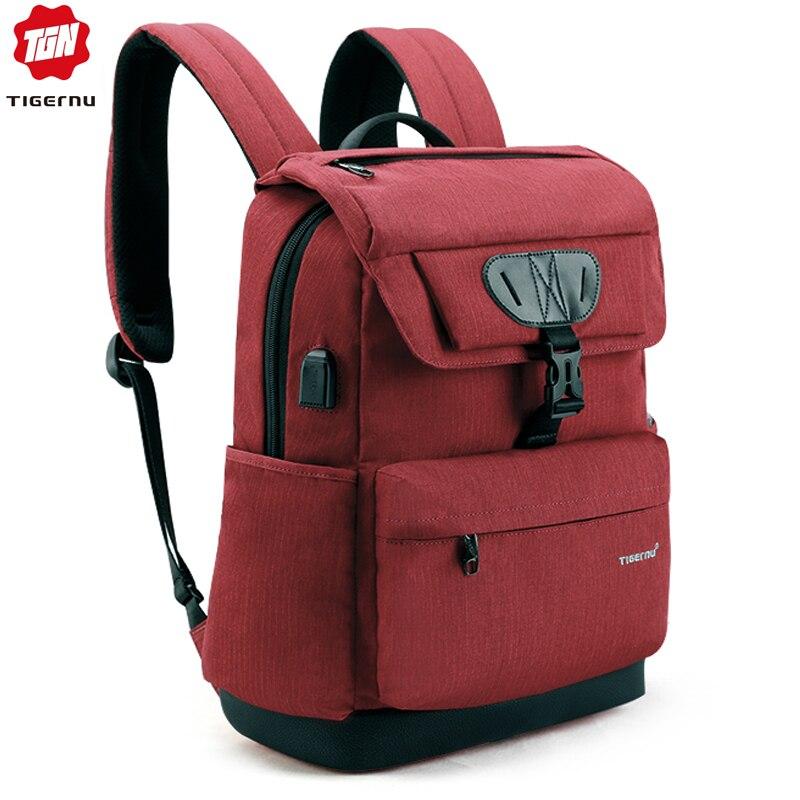 Tigernu Fashion Women Red USB Recharging School Bag Backpack for Teenagers Girls Anti theft Female Male