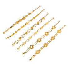 Elegant Chain Bracelet Gold Color Stars Cross Charm Bracelet For Women Link Chain Bracelets Steel Jewelry Gift Wholesale()