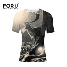 FORUDESIGNS 2019 Christmas Elk T Shirt Men Women 3D Animal Print T-shirt Short Sleeve Hip-Hop Tees High Quality Christmas Shirt