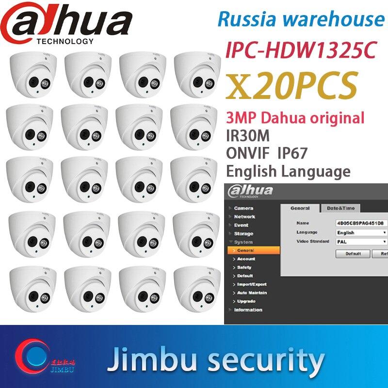 Dahua Original 3MP surveilliance system 20PCS lot size IP Camera 1080p IPC-HDW1325C IR 30M Surveillance Network  cctv cam H.264
