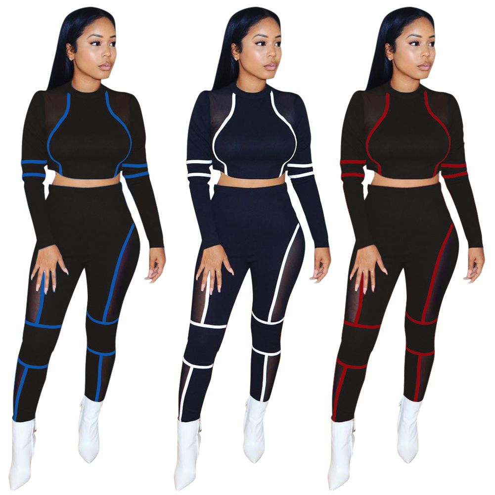 European and American women's new fashion temperament personality casual trend round neck stitching sports suit