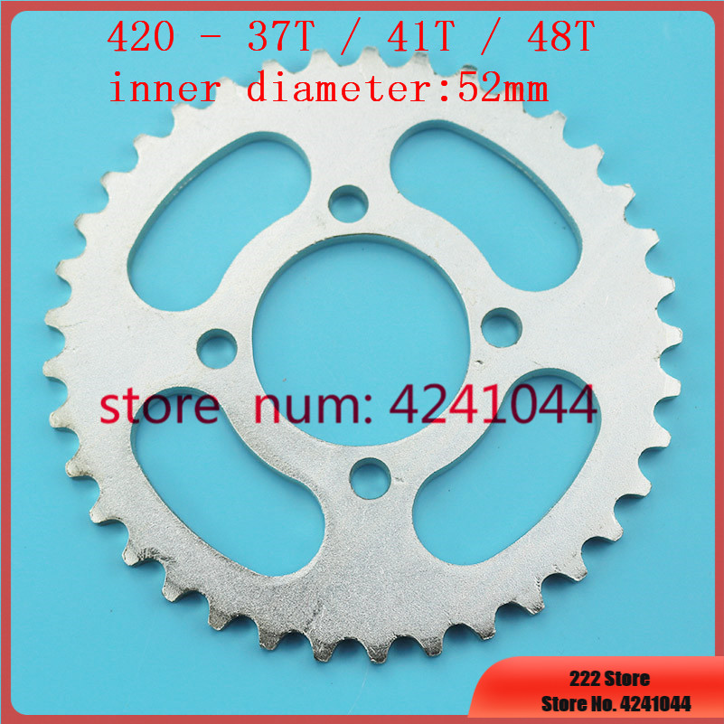 420 37T 41T 48T Tooth Rear Chain Sprocket 52mm For Chinese ATV Quad Pit Dirt Bike Buggy Go Kart Motorcycle Motor Moped