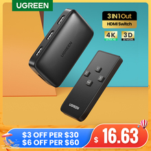 Ugreen HDMI Schalter für Xiaomi Mi Box 3 In 1 Out HDMI Switcher 4K/30Hz für TV box PS4 Schalter HDMI 4K mit Controller HDMI Kabel