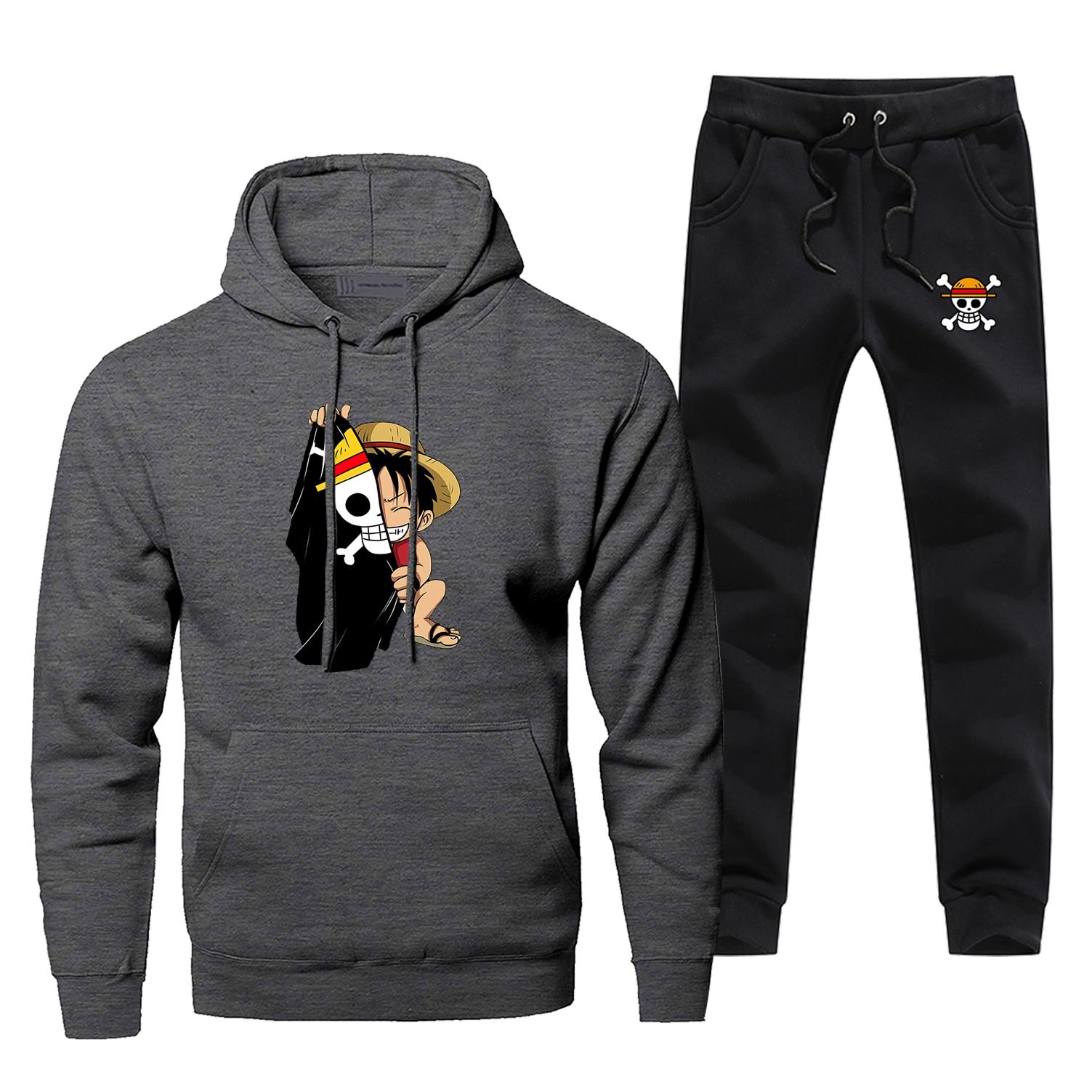 One Peice Monkey D Luffy Flage Men's Jogging 2019 Winter 2 Piece Set Japan Anime Harajuku Men's Sets Fleece Casual Warm Hoodies