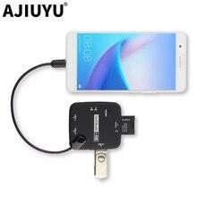AJIUYU Micro USB Adapter OTG SD TF Card reader HUB Mobile phone Pad For Xiaomi Redmi Samsung Huawei LG Android micro usb 2.0 otg