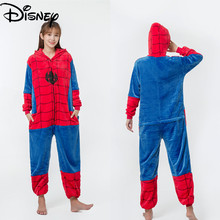 Marvel Spider-Man Flannel Ladies One-piece Pajamas Youth Homewear Comfortable and Convenient