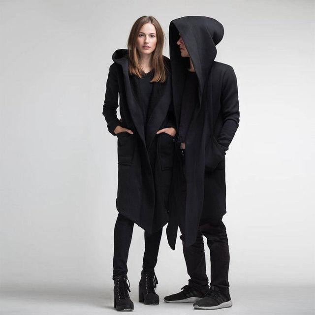 Veste unisexe, longue Section du Manteau à capuche, Cape à capuche, Manteau noir pour Femme et homme, Hiver, Cardigan à capuche