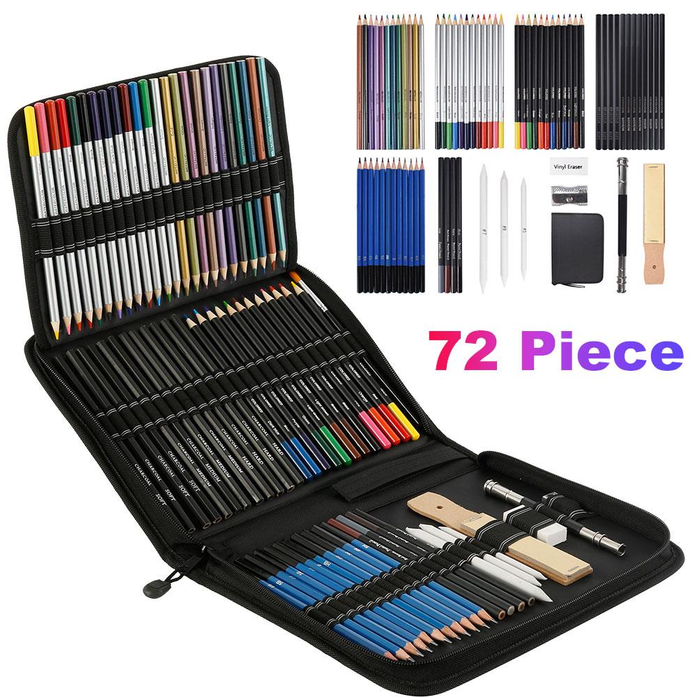 72 pçs lápis de desenho conjunto esboço