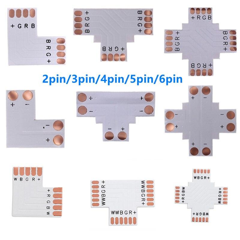 5-10 шт., 2-контактный, 3-контактный, 4-контактный, 5-контактный, 6-контактный светодиодный разъем, 8 мм, 10 мм, 12 мм, форма L/T/X, FPC, Бесплатная сварка дл...