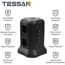 TESSAN מגדל כוח רצועת אנכי האיחוד האירופי תקע מתאם חנויות 6 דרך AC שקעים מרובים עם USB Surge מגן 2M הארכת כבל